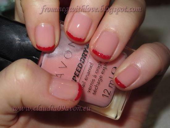 Manichiura french roz cu rosu Avon Real Red si Ballerina 3